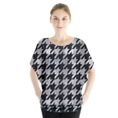 Houndstooth1 Black Marble & Gray Metal 2 Blouse