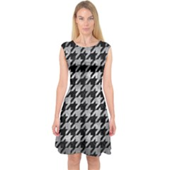 Houndstooth1 Black Marble & Gray Metal 2 Capsleeve Midi Dress