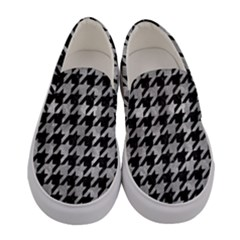 Houndstooth1 Black Marble & Gray Metal 2 Women s Canvas Slip Ons