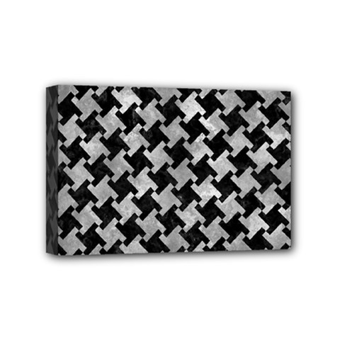 Houndstooth2 Black Marble & Gray Metal 2 Mini Canvas 6  X 4
