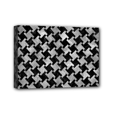 Houndstooth2 Black Marble & Gray Metal 2 Mini Canvas 7  X 5