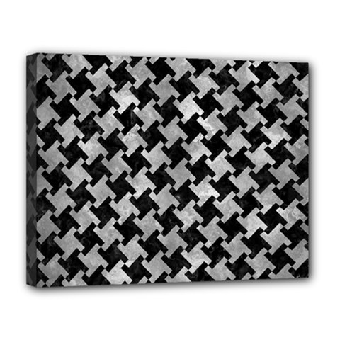 Houndstooth2 Black Marble & Gray Metal 2 Canvas 14  X 11
