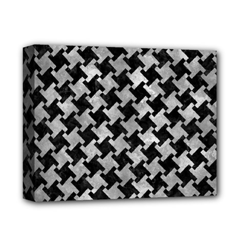 Houndstooth2 Black Marble & Gray Metal 2 Deluxe Canvas 14  X 11