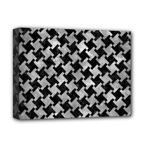 Houndstooth2 Black Marble & Gray Metal 2 Deluxe Canvas 16  X 12