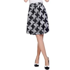 Houndstooth2 Black Marble & Gray Metal 2 A Line Skirt