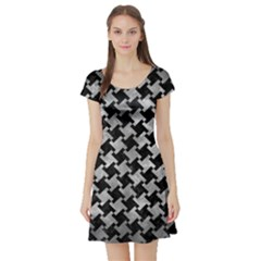 Houndstooth2 Black Marble & Gray Metal 2 Short Sleeve Skater Dress