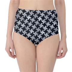 Houndstooth2 Black Marble & Gray Metal 2 High Waist Bikini Bottoms