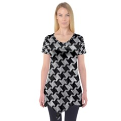 Houndstooth2 Black Marble & Gray Metal 2 Short Sleeve Tunic