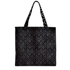 Hexagon1 Black Marble & Gray Metal 2 Zipper Grocery Tote Bag