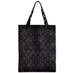 Hexagon1 Black Marble & Gray Metal 2 Zipper Classic Tote Bag