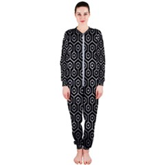 Hexagon1 Black Marble & Gray Metal 2 Onepiece Jumpsuit (ladies)