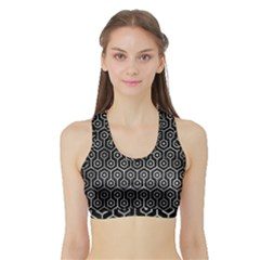 Hexagon1 Black Marble & Gray Metal 2 Sports Bra With Border