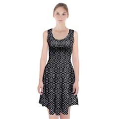 Hexagon1 Black Marble & Gray Metal 2 Racerback Midi Dress