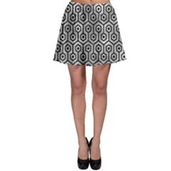 Hexagon1 Black Marble & Gray Metal 2 (r) Skater Skirt