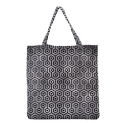 Hexagon1 Black Marble & Gray Metal 2 (r) Grocery Tote Bag