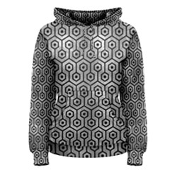 Hexagon1 Black Marble & Gray Metal 2 (r) Women s Pullover Hoodie