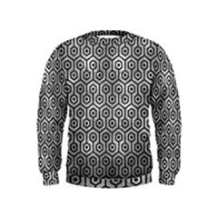 Hexagon1 Black Marble & Gray Metal 2 (r) Kids  Sweatshirt