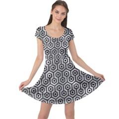 Hexagon1 Black Marble & Gray Metal 2 (r) Cap Sleeve Dress