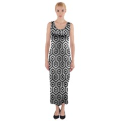 Hexagon1 Black Marble & Gray Metal 2 (r) Fitted Maxi Dress