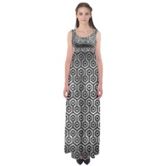 Hexagon1 Black Marble & Gray Metal 2 (r) Empire Waist Maxi Dress