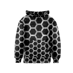 Hexagon2 Black Marble & Gray Metal 2 Kids  Pullover Hoodie