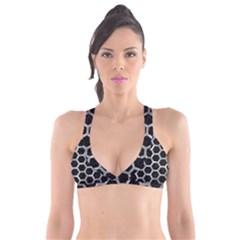 Hexagon2 Black Marble & Gray Metal 2 Plunge Bikini Top