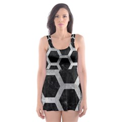 Hexagon2 Black Marble & Gray Metal 2 Skater Dress Swimsuit