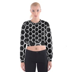 Hexagon2 Black Marble & Gray Metal 2 Cropped Sweatshirt
