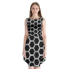 Hexagon2 Black Marble & Gray Metal 2 Sleeveless Chiffon Dress