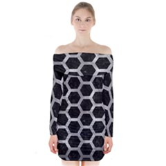 Hexagon2 Black Marble & Gray Metal 2 Long Sleeve Off Shoulder Dress