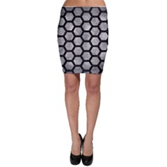 Hexagon2 Black Marble & Gray Metal 2 (r) Bodycon Skirt
