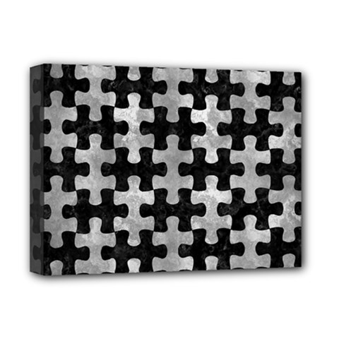 Puzzle1 Black Marble & Gray Metal 2 Deluxe Canvas 16  X 12