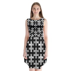 Puzzle1 Black Marble & Gray Metal 2 Sleeveless Chiffon Dress