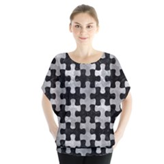 Puzzle1 Black Marble & Gray Metal 2 Blouse