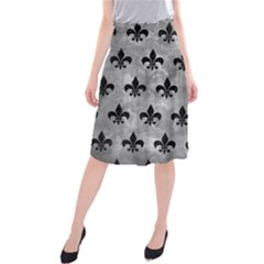 Royal1 Black Marble & Gray Metal 2 Midi Beach Skirt