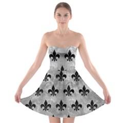 Royal1 Black Marble & Gray Metal 2 Strapless Bra Top Dress