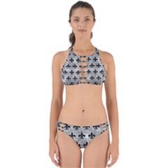 Royal1 Black Marble & Gray Metal 2 Perfectly Cut Out Bikini Set