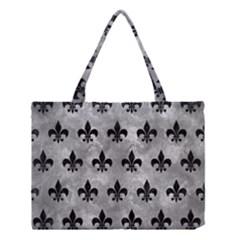 Royal1 Black Marble & Gray Metal 2 Medium Tote Bag