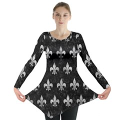 Royal1 Black Marble & Gray Metal 2 (r) Long Sleeve Tunic