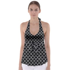 Scales1 Black Marble & Gray Metal 2 Babydoll Tankini Top