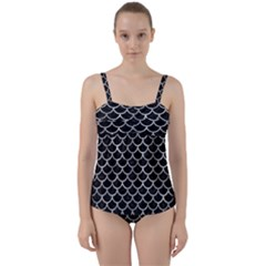 Scales1 Black Marble & Gray Metal 2 Twist Front Tankini Set
