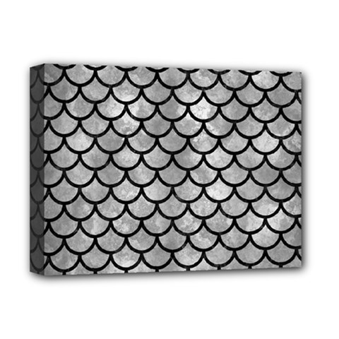 Scales1 Black Marble & Gray Metal 2 (r) Deluxe Canvas 16  X 12