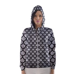 Scales1 Black Marble & Gray Metal 2 (r) Hooded Wind Breaker (women)