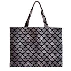 Scales1 Black Marble & Gray Metal 2 (r) Zipper Mini Tote Bag