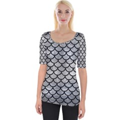 Scales1 Black Marble & Gray Metal 2 (r) Wide Neckline Tee