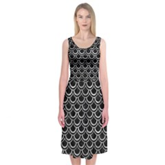Scales2 Black Marble & Gray Metal 2 Midi Sleeveless Dress