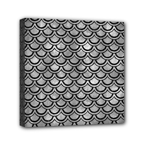 Scales2 Black Marble & Gray Metal 2 (r) Mini Canvas 6  X 6
