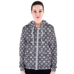 Scales2 Black Marble & Gray Metal 2 (r) Women s Zipper Hoodie