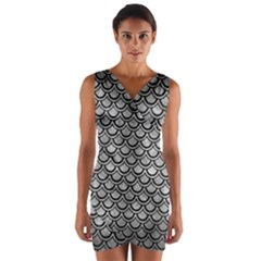 Scales2 Black Marble & Gray Metal 2 (r) Wrap Front Bodycon Dress
