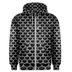 Scales3 Black Marble & Gray Metal 2 Men s Zipper Hoodie